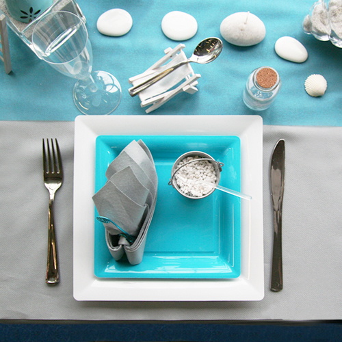 Une Nouvelle Decoration De Table Turquoise Galet Decorations Fetes