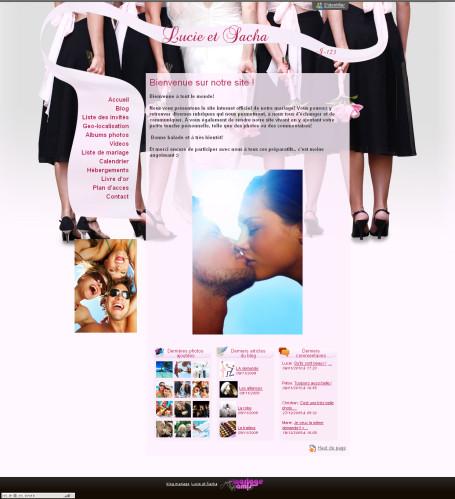 Page d'accueil d'un blog mariage