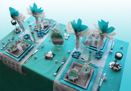 Décoration de table Noël turquoise gris blanc