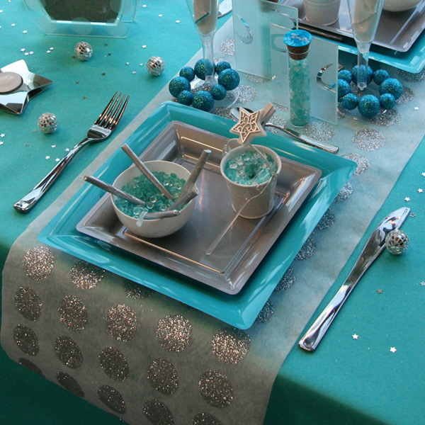 d coration de table no l turquoise gris blanc d corations f tes. Black Bedroom Furniture Sets. Home Design Ideas