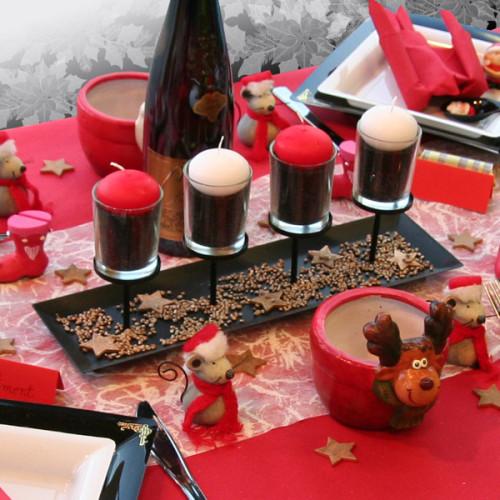 D coration de table no l rouge noir blanc d corations for Decor de table de noel original