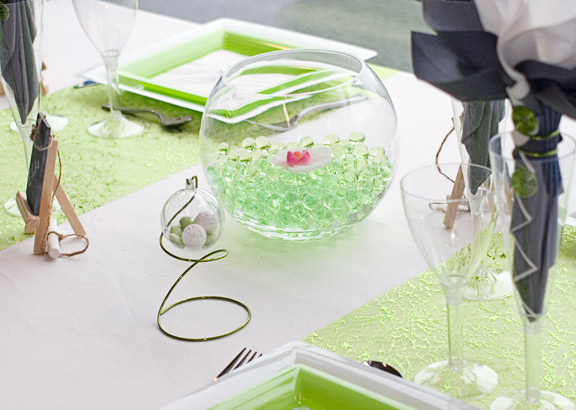 Centre de table vert anis