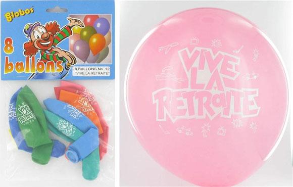 Ballons multicolores Vive la retraite