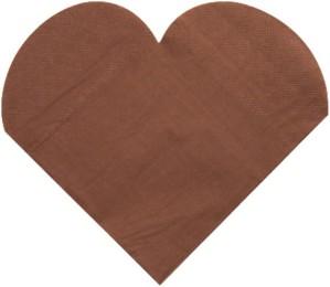 Serviettes jetables coeur, chocolat