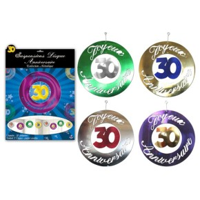 Suspensions disque couleurs assorties, 30 ans