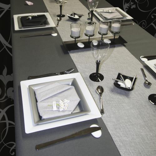 D coration de table blanc gris et noir d corations f tes for Decoration table noir et blanc