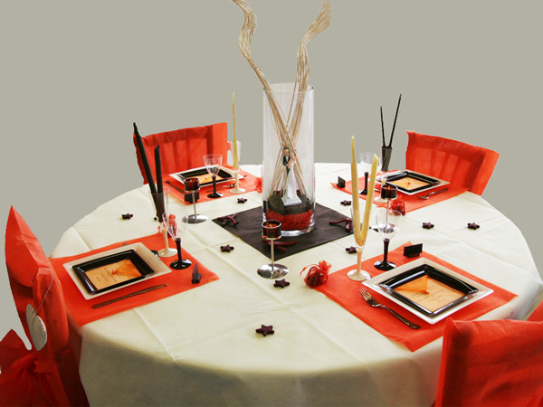 decoration table mariage orange chocolat