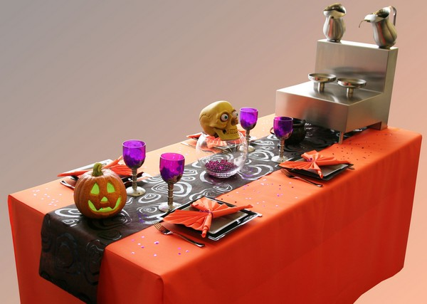 Décoration de table Halloween, orange et noir