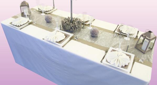 D coration de table no l taupe et blanc d corations f tes for Decoration taupe et blanc