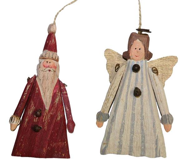 Suspensions en bois, ange et père noel