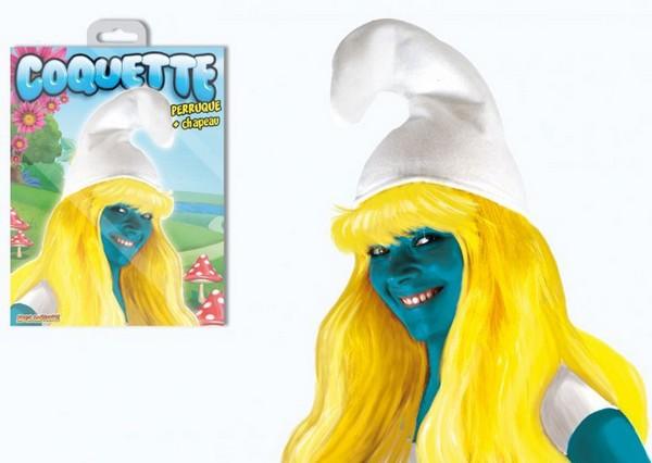 Bonnet et perruque de Schtroumpfette