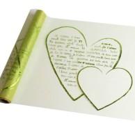 Chemin de table coeurs métallisés, vert anis