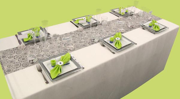 Décoration de table : gris, vert anis et bleu roi