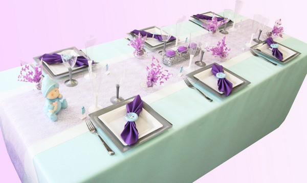 D coration de table bapt me bleu clair et violet - Idee decoration de table pour communion fille ...