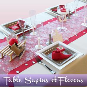 Décoration de table Noël / Nouvel an : sapins et flocons