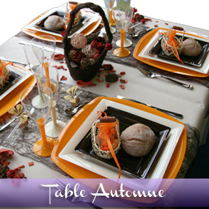 Décoration de table orange chocolat beige