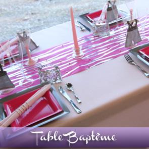 Décoration de table rose fuchsia gris