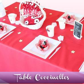 Décoration de table baptême, rouge et blanc