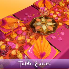 Décoration de table orange, fuchsia et jaune