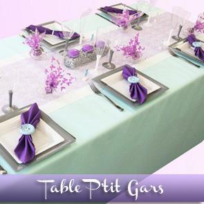 Décoration de table baptême, bleu clair et violet
