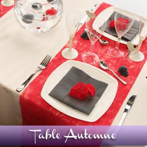 Décoration de table rouge gris écru