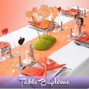 Décoration de table orange, blanc et taupe