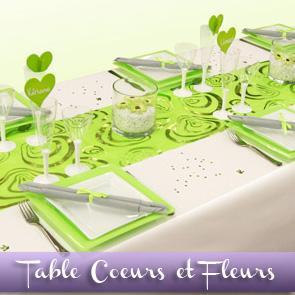 Décoration de table vert anis et blanc