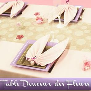 Décoration de table rose, parme et gris