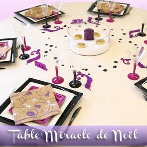 Décoration de table Noël : ivoire et prune