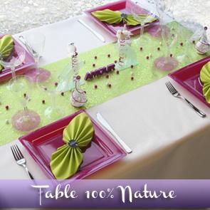 Décoration de table anis fuchsia et blanc