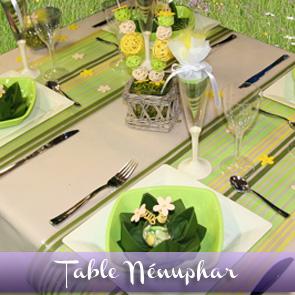Décoration de table vert jaune anis
