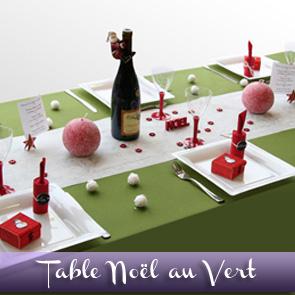 Décoration de table Noël : vert, blanc et rouge