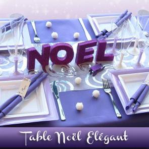 Décoration de table Noël : violet blanc parme