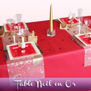 Décoration de table de Noël : rouge et or