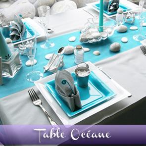 Décoration de table turquoise galet