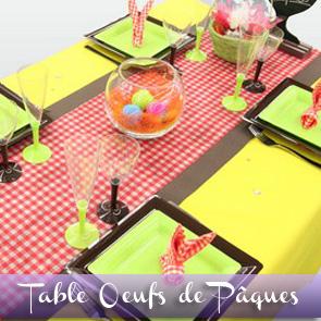 Décoration de table de Pâques, jaune et vichy