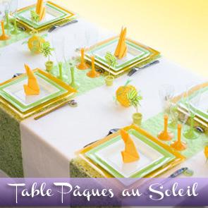 Décoration de table jaune vert anis et blanc