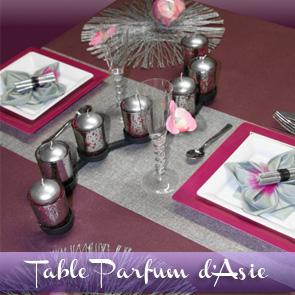 Décoration de table prune, argent, blanc