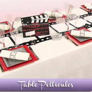 Décoration de table Cinéma, bordeaux, gris et noir
