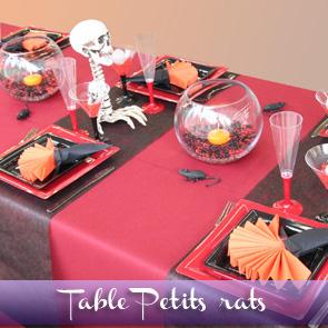 Décoration de table Halloween, rouge et noir