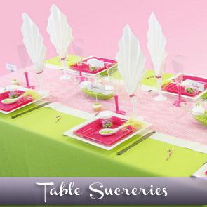 Décoration de table acidulée, vert anis et fuchsia