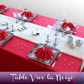 Décoration de table Noël : rouge argent blanc