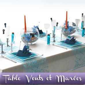 Décoration de table orange turquoise blanc