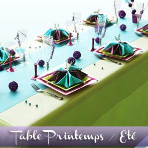 Décoration de table prune, turquoise et anis