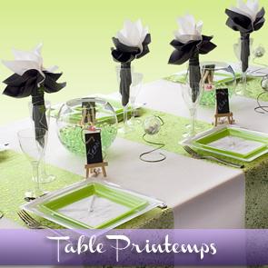 Décoration de table vert anis blanc gris