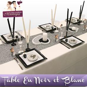 Décoration de table de mariage : en noir et blanc