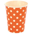 Gobelets à pois en carton, orange