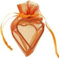 Sachets organdi coeur armuré orange