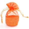 Mini sachets à dragées en jute et organza orange