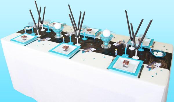 Deco Table Couleur Bleu Turquoise Et Noir : Décoration de table communion noir turquoise et blanc